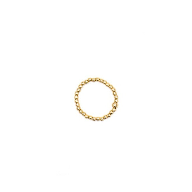 14k Yellow Gold Filled Ring, 2mm Beads
