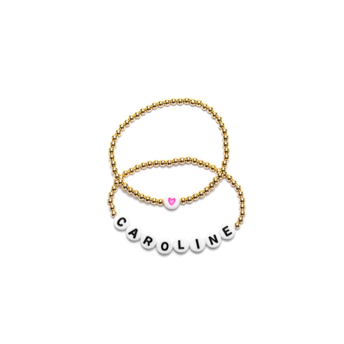 Custom Child Name + Heart Bracelet Gift Set