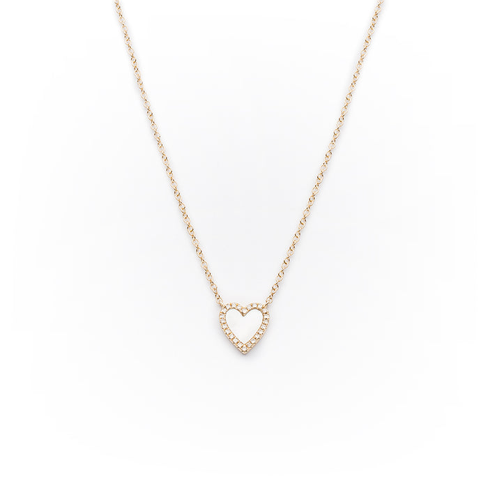 Mother of Pearl + Pavé Diamond Heart Necklace in 14k Yellow Gold