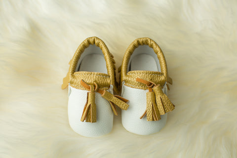White & Gold Tasseled Mocs