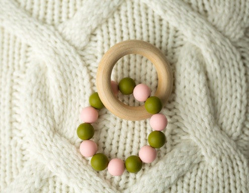 Olive Green + Pink Teether
