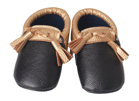 Black & Gold Tasseled Mocs