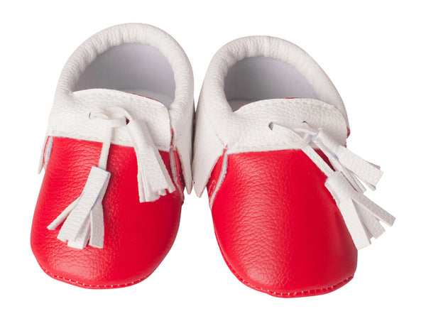 Red & White Tasseled Mocs