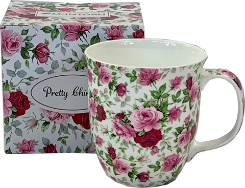 Pretty Chintzy Red & Pink Roses Java Mug