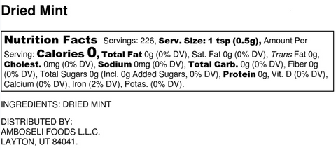 USimplySeason Dried Mint Nutrition Label