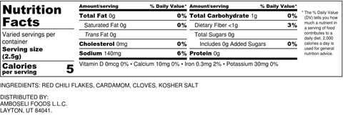 mitmita nutrition label, Ethiopian seasoning