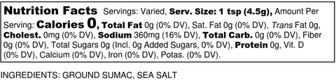 Tangy Sumac Nutrition Label