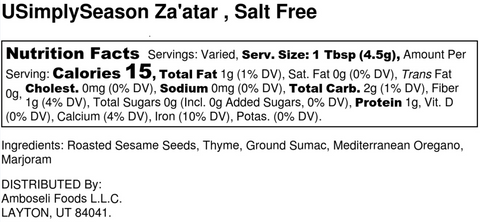 Original Zaatar Nutrition Label