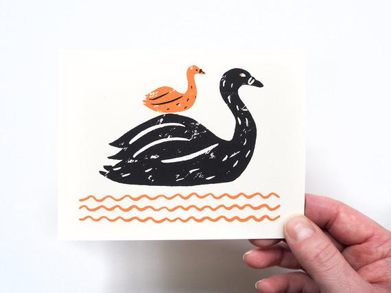 New Baby (Swan) card by Gillian Wilson