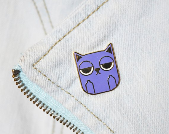 Sass Cat enamel pin by Julie Campbell