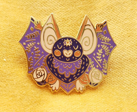 Spoops the Bat enamel pin by Julie Campbell