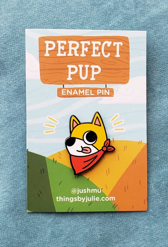 Perfect Pup enamel pin by Julie Campbell
