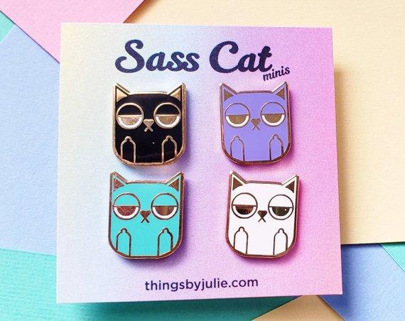 Sass Cats Mini Enamel Pins by Julie Campbell