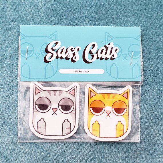Sass Cats sticker pack by Julie Campbell