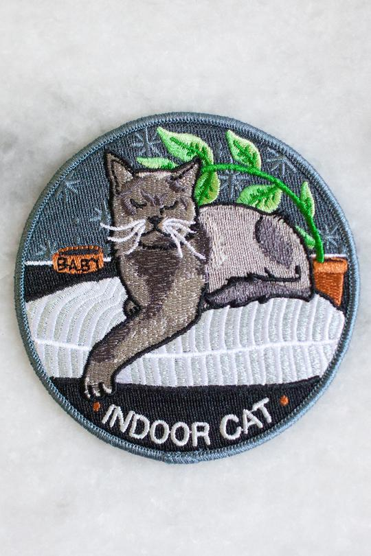 Stay Home Club Indoor Cat Iron-On Patch