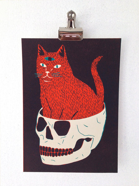 Cat & Skull Screen Print by Gillian Wilson