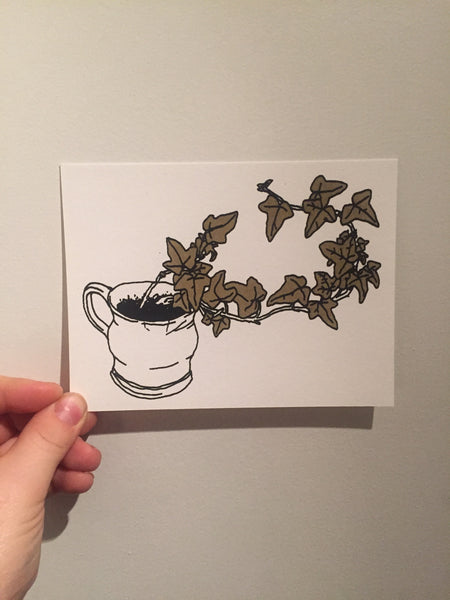 "Laura Watson, ""Ivy and Broken Mug"" Postcard"