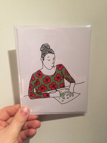 "Laura Watson, ""Girl Drawing"" Card"