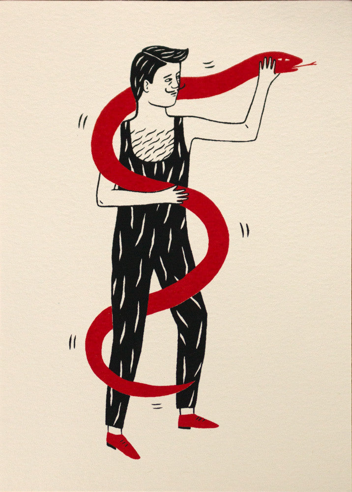 Snake Charmer Screen Print by GIllian Wilson