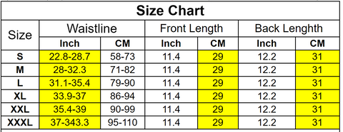 Waisted Together waist trainer size chart