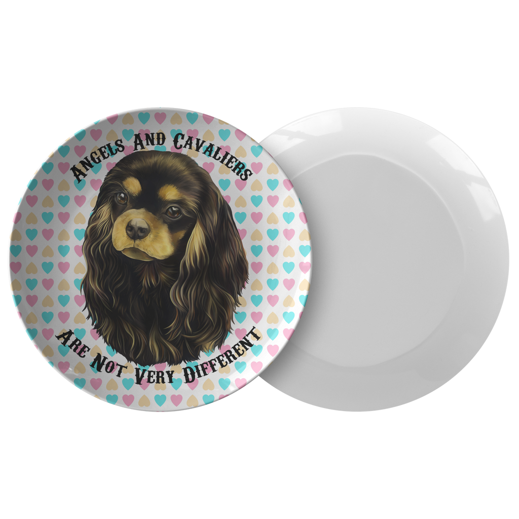 Cavalier King Charles Spaniel Gifts - Black and Tan Cavalier Dinner Plate - Angels and Cavaliers - GoneBold.gift