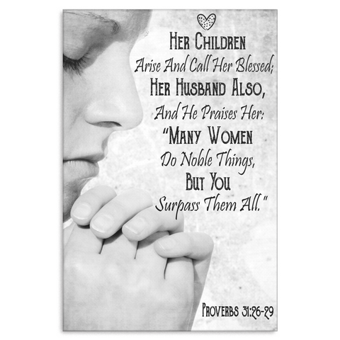 Bible verse gifts for women - Bible Verse Canvas Print - Proverbs 31 - GoneBold.gift