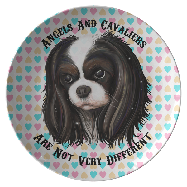 Cavalier King Charles Spaniel Gifts - Tricolor Cavalier Dinner Plate - Angels and Cavaliers