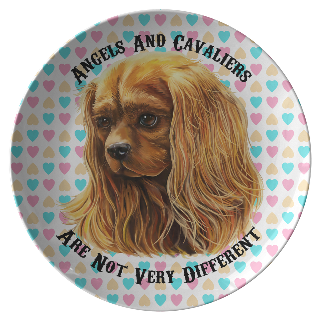 Cavalier King Charles Spaniel Gifts - Ruby Cavalier Dinner Plate - Angels and Cavaliers - GoneBold.gift