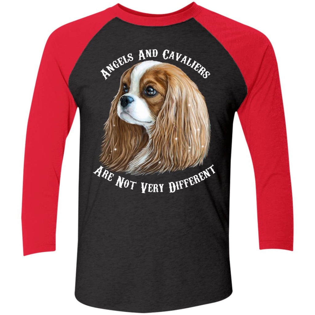 Cavalier King Charles Spaniel Blenheim Angels and Cavaliers Baseball Raglan T-Shirt - GoneBold.gift