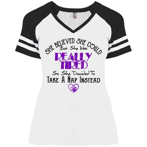 Funny Game V-Neck T-Shirt - She Believed She Could But She Was Tiered