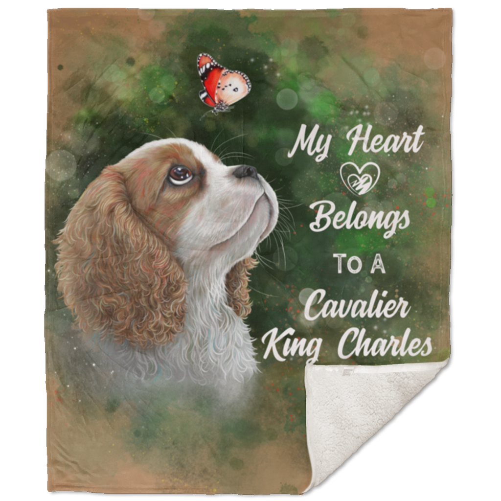 Cavalier King Charles spaniel, Premium Sherpa Blanket - 50x60 inches - GoneBold.gift