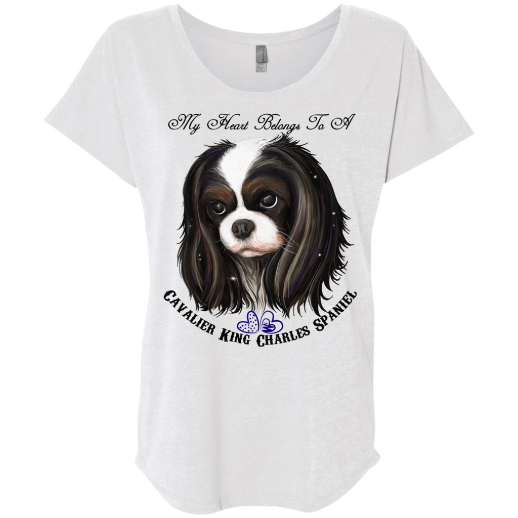 Cavalier King Charles spaniel Tricolor My Heart Dolman Sleeve T-shirt - GoneBold.gift