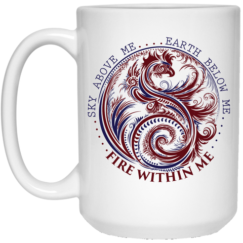 Yin Yang Dragon Coffee Mug - Wisdom Quotes, Fire Within Me, Yoga Gifts