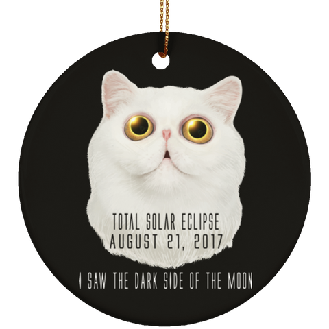 Christmas Tree Decorations - Solar Eclipse Cat Dark Side Of The Moon Ornament - GoneBold.gift