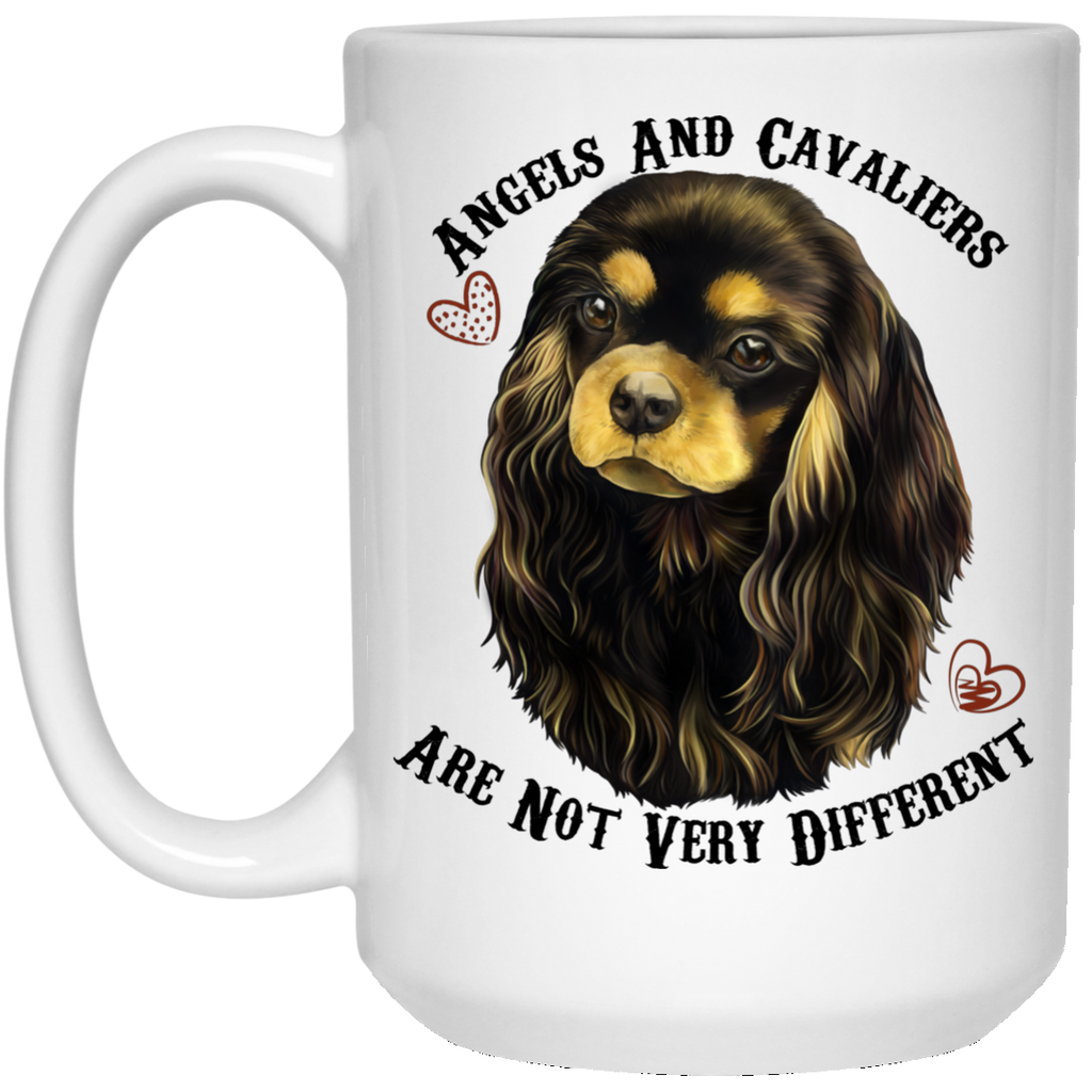 Cavalier King Charles Spaniel Gifts - Cavaliers And Angels Black and Tan King Charles White Mugs White Mugs - GoneBold.gift