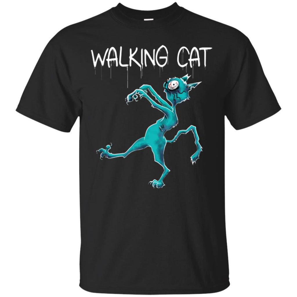 Cat Shirt - Zombie Walking Cat Funny Unisex Tees - GoneBold.gift