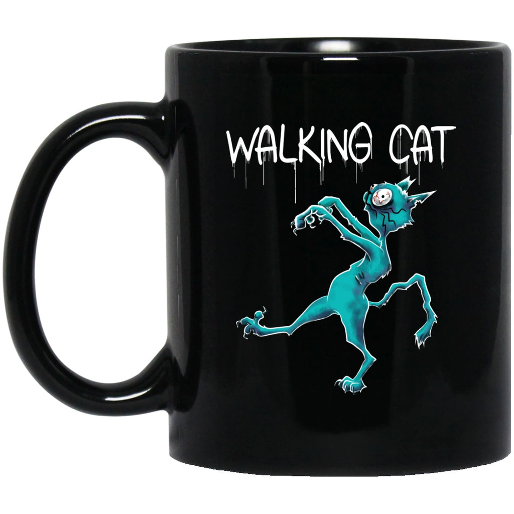 Walking Cat Zombie Halloween Black Coffee Mugs - GoneBold.gift