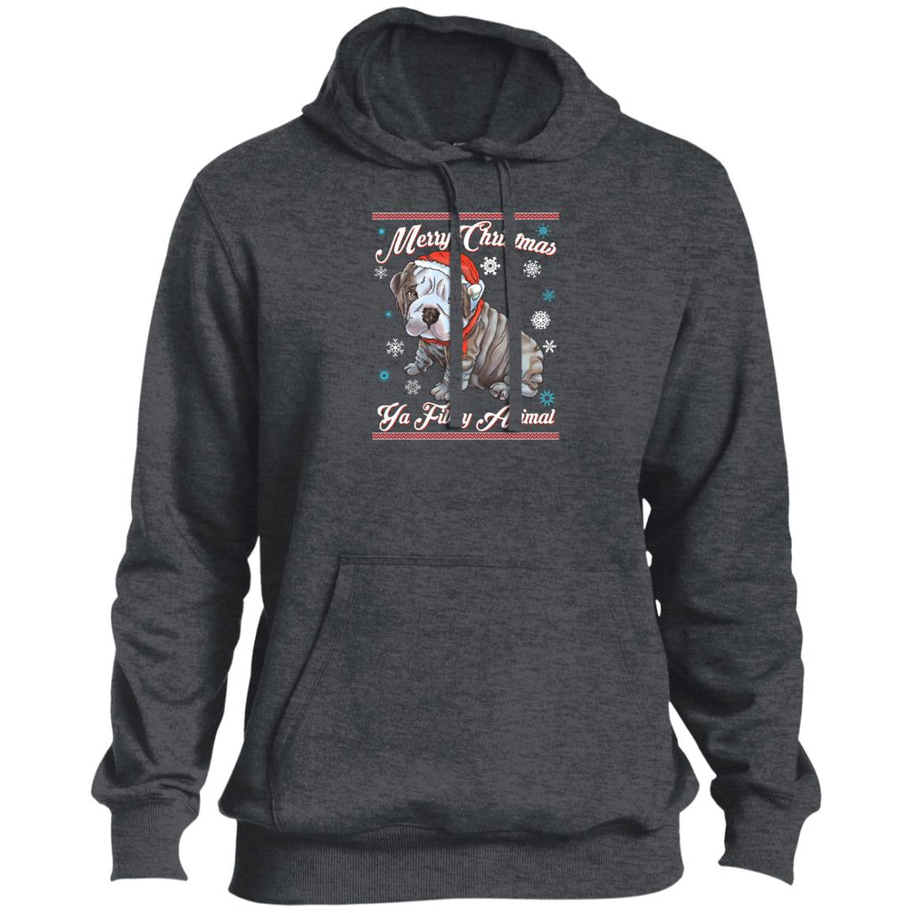 English bulldog hoodie, Merry Christmas Ya Filthy Animals  Sport-Tek Pullover Hoodie - GoneBold.gift