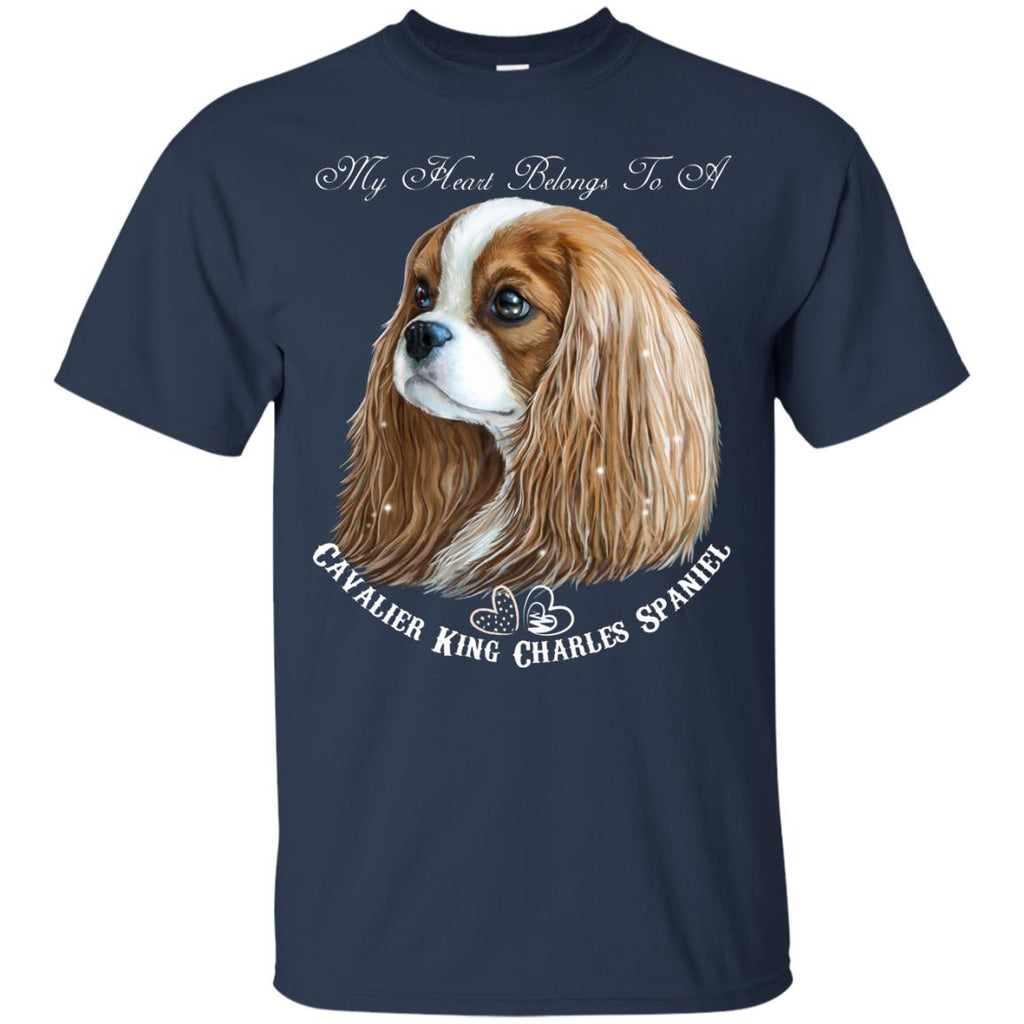 Cavalier King Charles Spaniel Blenheim My Heart Cotton T-Shirt - GoneBold.gift