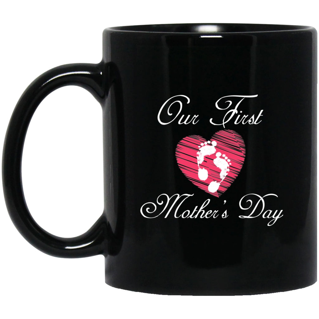 First Mother's Day Black Coffee Mugs - GoneBold.gift