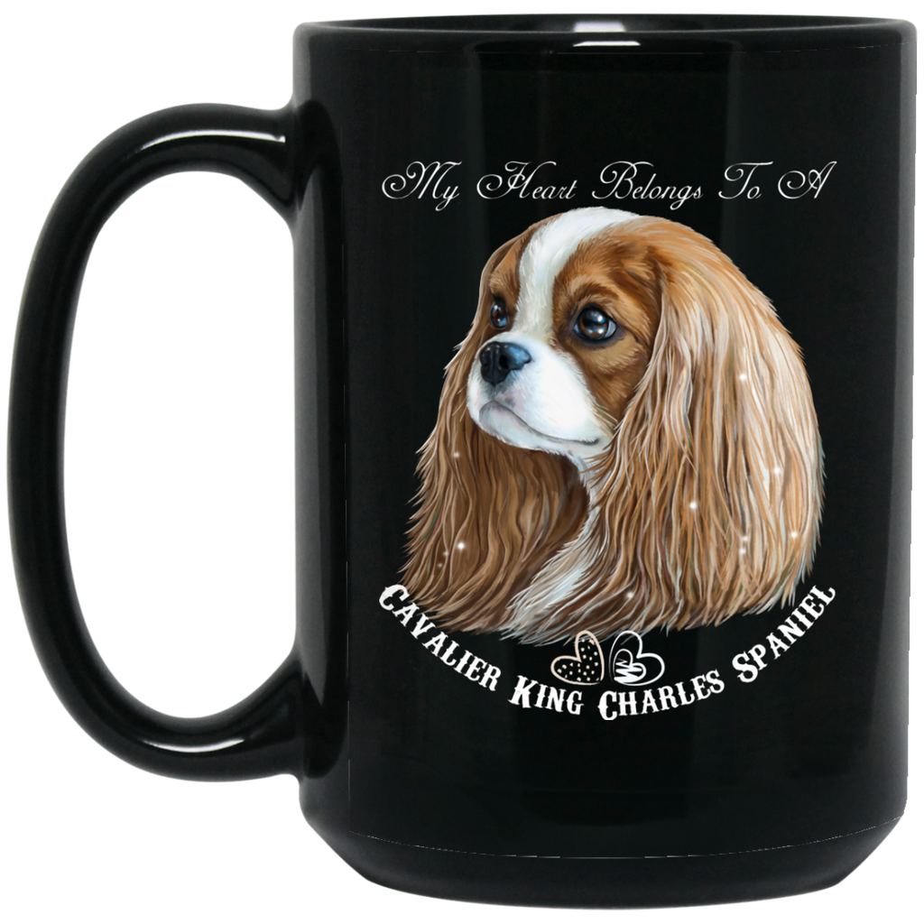 Cavalier King Charles Spaniel Gifts - My Heart Blenheim Cavalier Black Coffee Mugs - GoneBold.gift