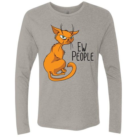 Cat Shirt, Ew People, Next Level Men's Triblend LS Crew - GoneBold.gift