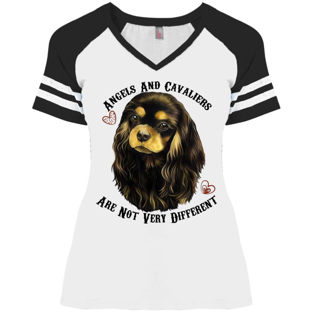 Cavalier King Charles Spaniel Black and Tan Angels Game V-Neck T-Shirt - GoneBold.gift