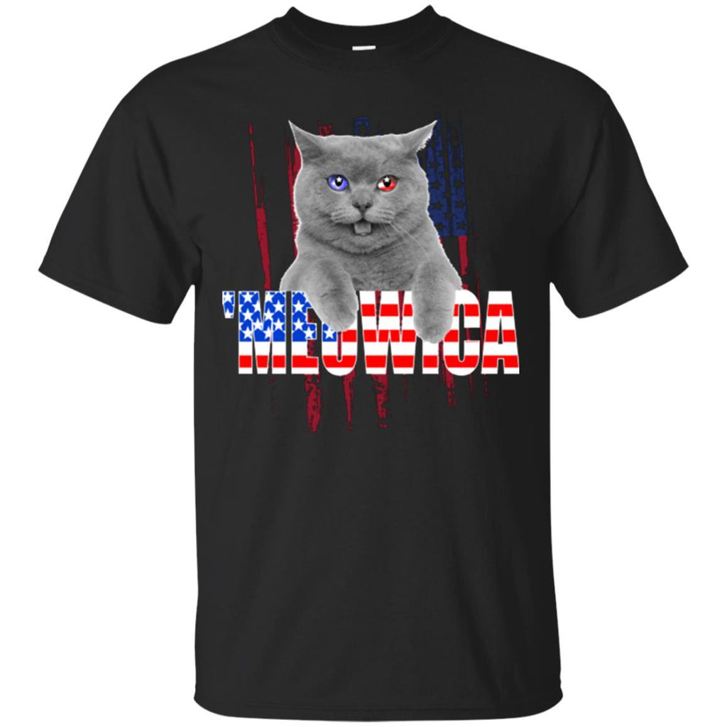 Cat Shirt Meowica US Flag Unisex Tees - GoneBold.gift