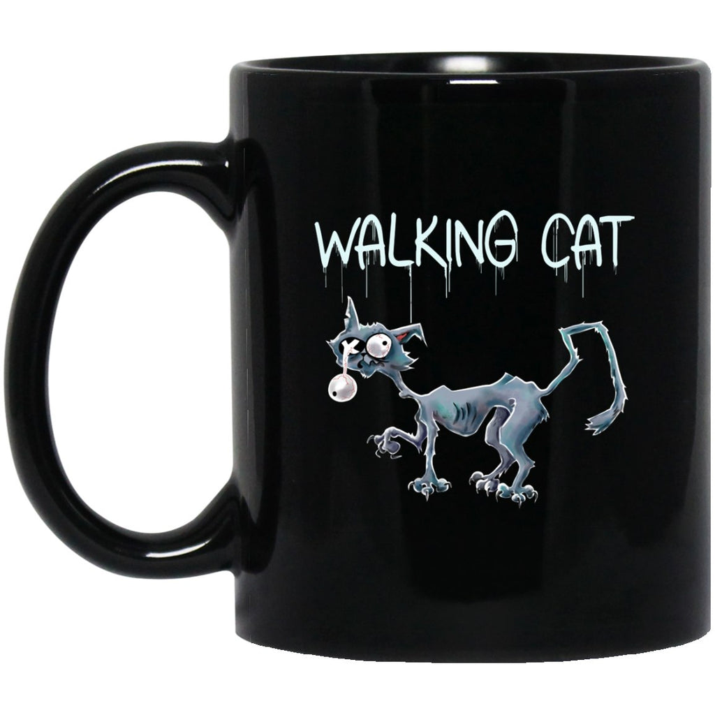 Cat Zombie Halloween Black Coffee Mugs - GoneBold.gift