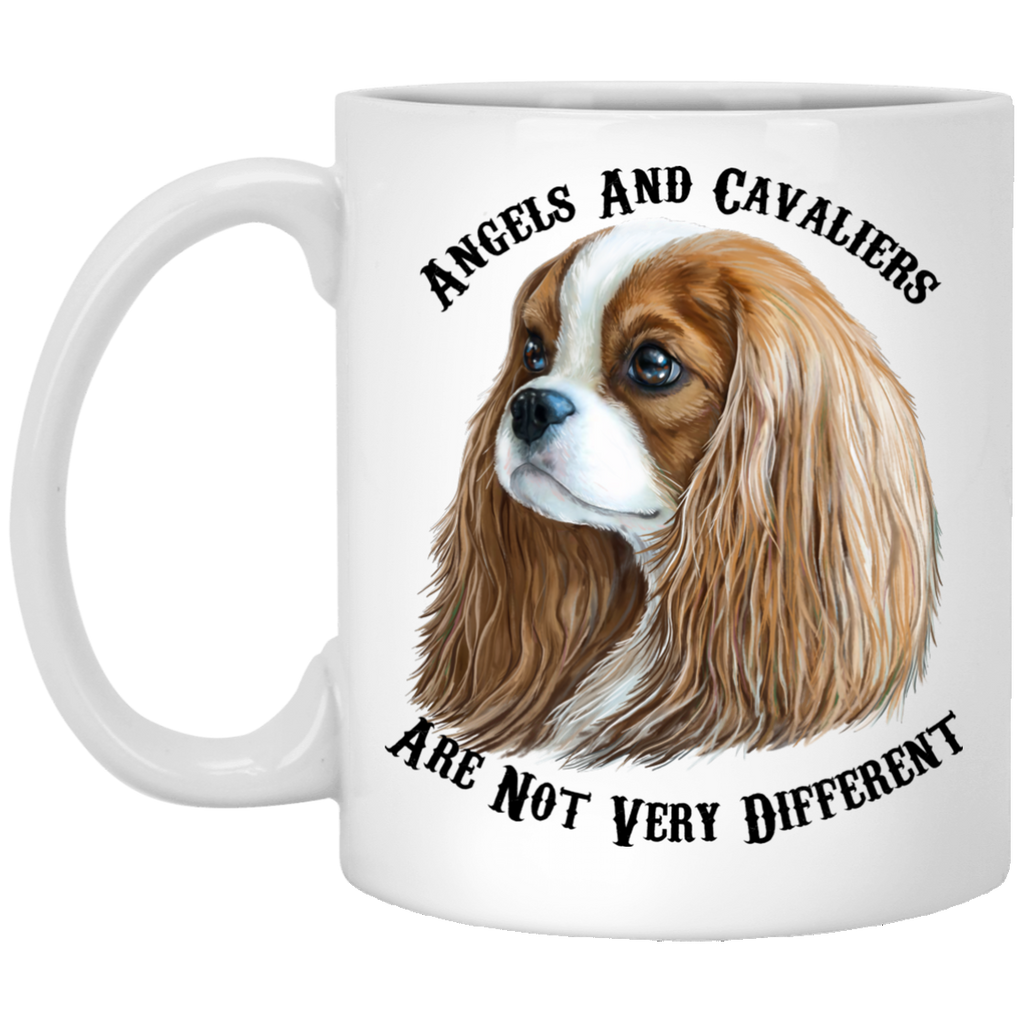 Cavalier King Charles Spaniel Gifts - Cavaliers And Angels Blenheim King Charles White Mugs White Mugs - GoneBold.gift