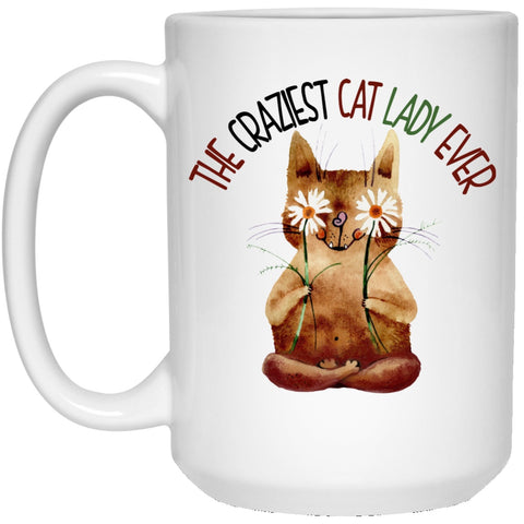 The Crazy Cat Lady White Mugs