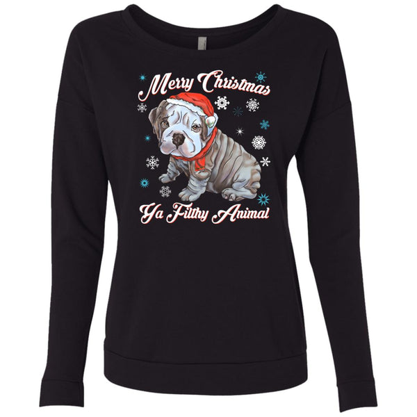 English Bulldog - Christmas Ugly Sweater, Next Level French Terry Scoop Sweatshirt