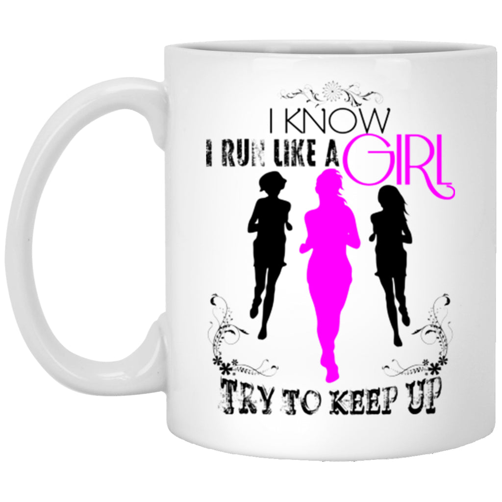 Run Like A Girl Mug Funny White Mugs - GoneBold.gift