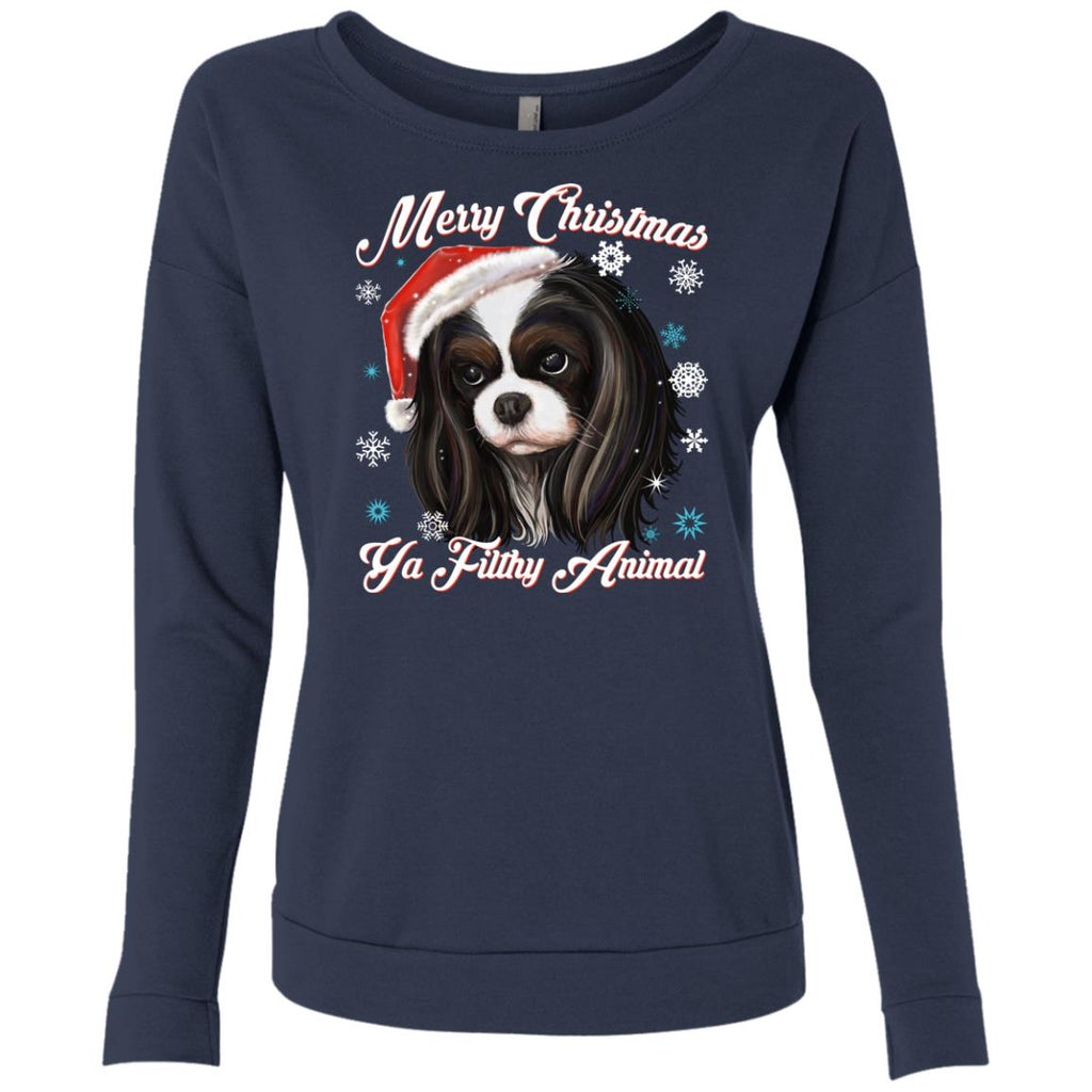 Cavalier King Charles Spaniel - Christmas Sweater, Next Level French Terry Scoop Sweatshirt - GoneBold.gift
